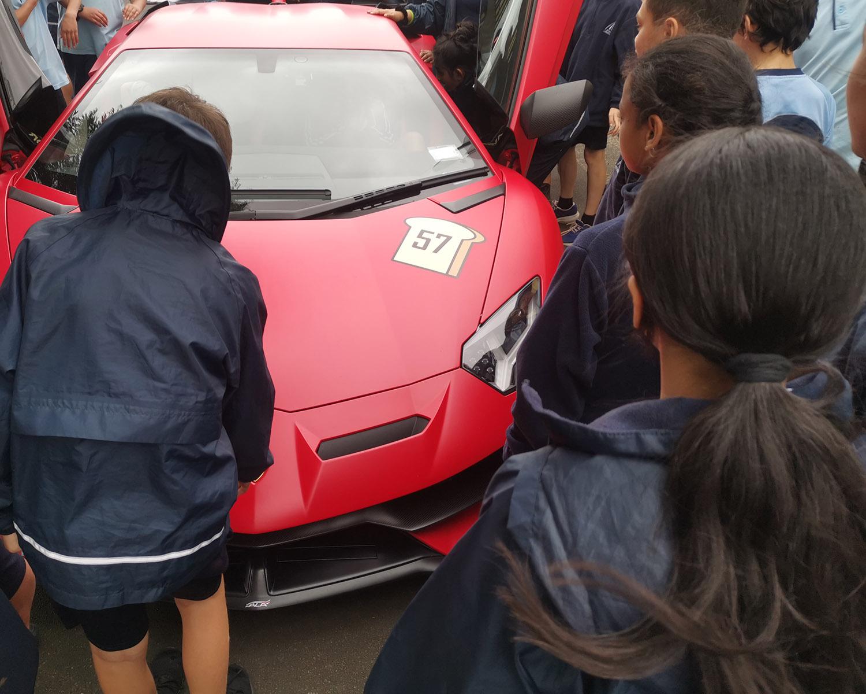 Showing children a $1,000,000 Lamborghini